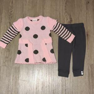 Little Lass 18 Months Pink & Gray Sweater Pant Set